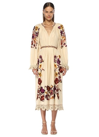 Ulla Johnson Kadın Miro Bej Çiçek Nakışlı Pileli Midi Keten Elbise 4 US