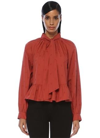 Kadın Queenie Kiremit Yakası Bağcıklı Reglan Kol Bluz Pembe 4 US