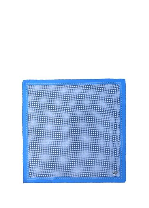 Mavi Mikro Geometrik Desenli İpek Poşet Mendil