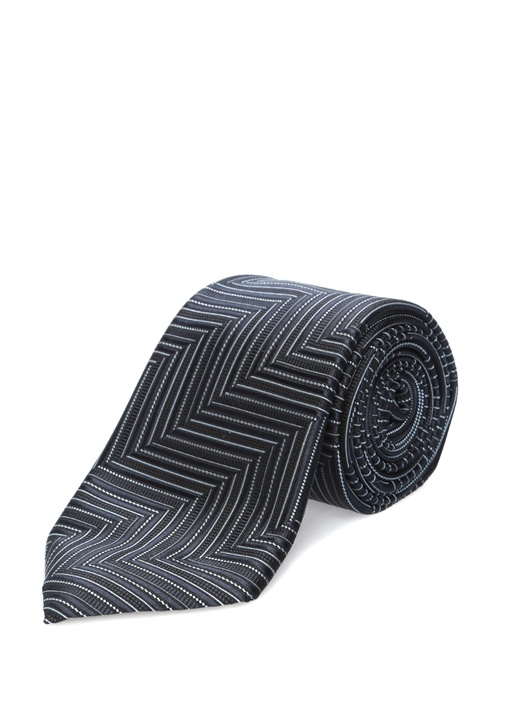 Lacivert Geometrik Çizgi Desenli İpek Kravat