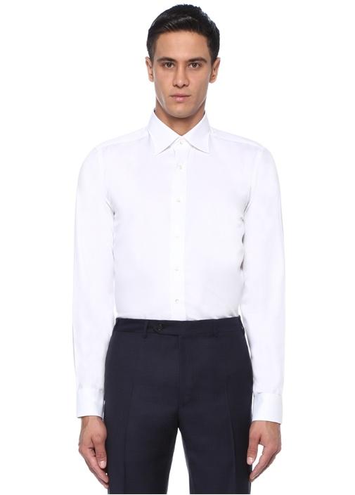 Slim Fit Beyaz Modern Yaka Dokulu Gömlek