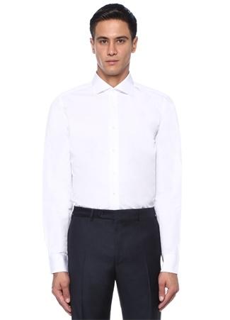 Slim Fit Beyaz Küçük Yaka Gömlek