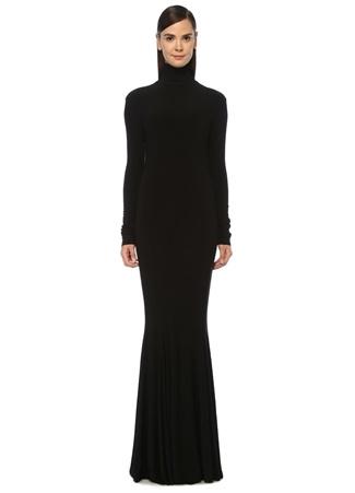 Norma Kamali Kadın Siyah Dik Yaka Uzun Kol Maksi Elbise EU female