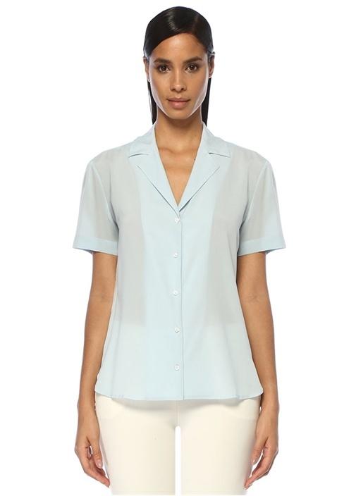 Mavi Kısa Kol İpek Gömlek