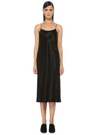 Vince Kadın Siyah İnce Askılı Midi Saten Elbise L EU