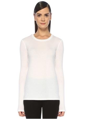 Vince Kadın Beyaz Bisiklet Yaka Uzun Kollu T-shirt XS EU female