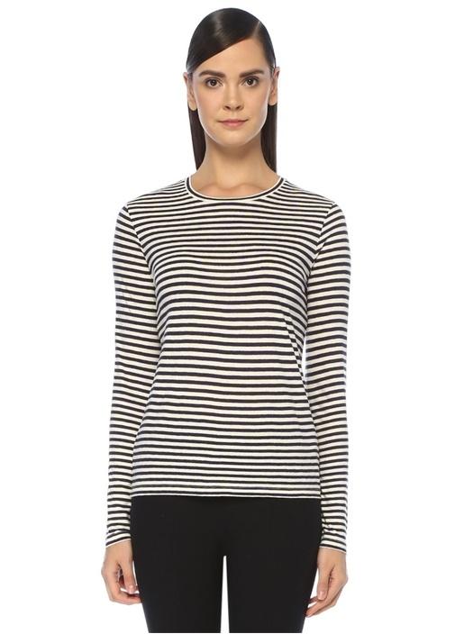 Lacivert Beyaz Çizgili Uzun Kollu T-shirt