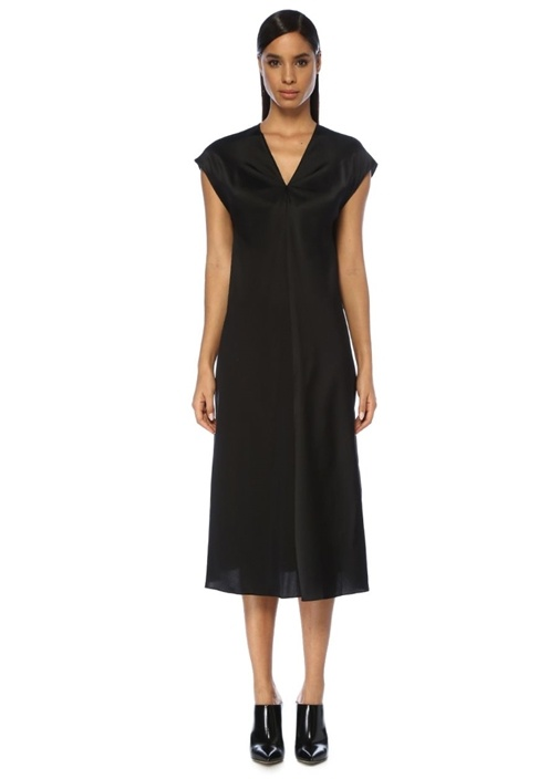 Siyah V Yaka Kuşaklı Midi İpek Saten Elbise