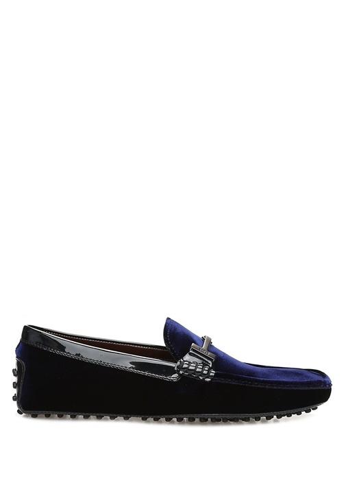 Lacivert Logolu Erkek Kadife Smokin Ayakkabısı
