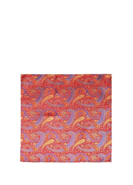 Kırmızı Şal Desenli İpek Poşet Mendil