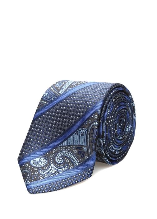 Mavi Verev Çizgili Mikro Desenli İpek Kravat