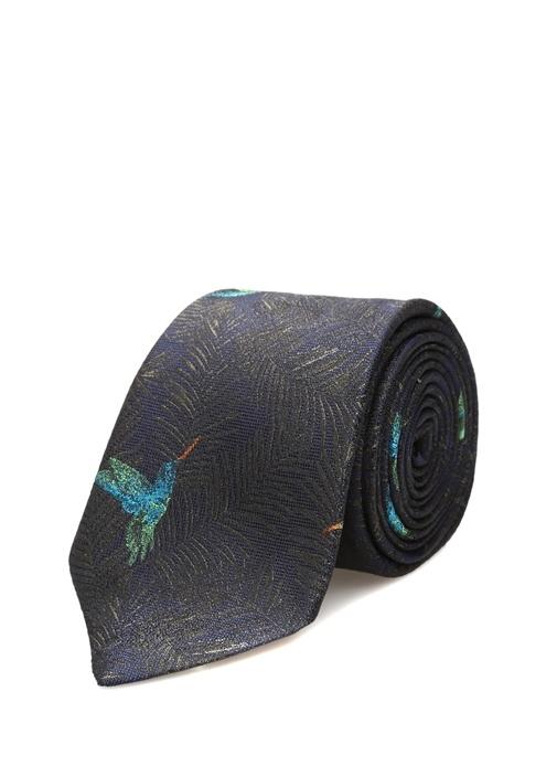Lacivert Yaprak Desenli Logolu İpek Kravat