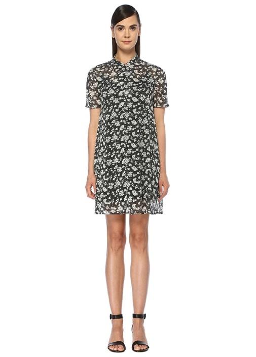 Siyah Çiçekli Fermuar Detaylı Mini Elbise