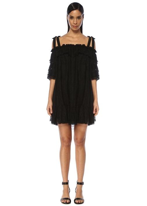 Siyah Omzu Bağcıklı Volanlı Mini Dantel Elbise