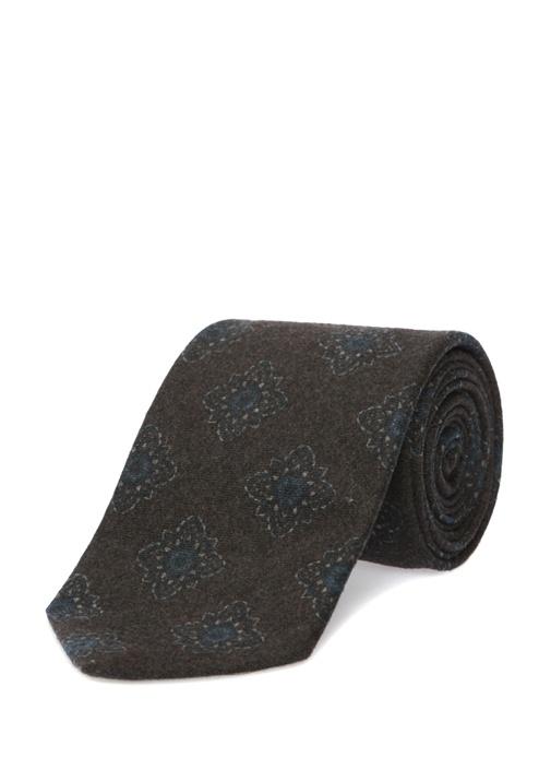 Kahverengi Şal Desenli yün Kravat