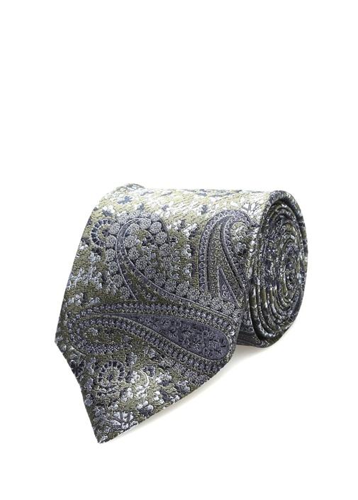 Yeşil Lacivert Şal Desenli İpek Kravat