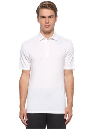 Zegna Erkek Beyaz Polo Yaka Pike Dokulu T-shirt 50 IT male
