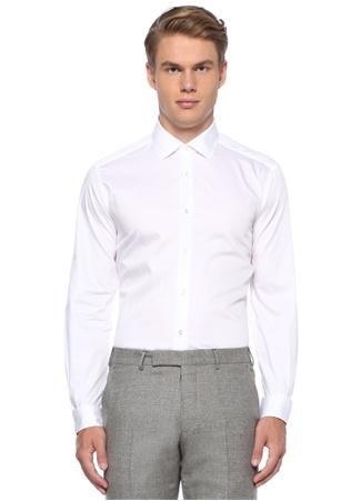 Drop 6 Beyaz İngiliz Yaka Gömlek