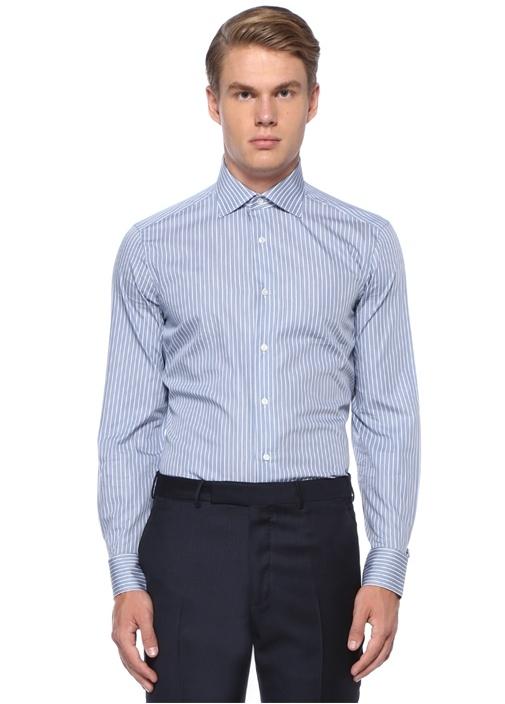 Drop 6 Mavi Beyaz Çizgili İngiliz Yaka Gömlek