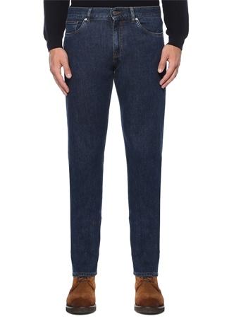 Tailored Fit Mavi Kontrast Dikişli JeanPantolon