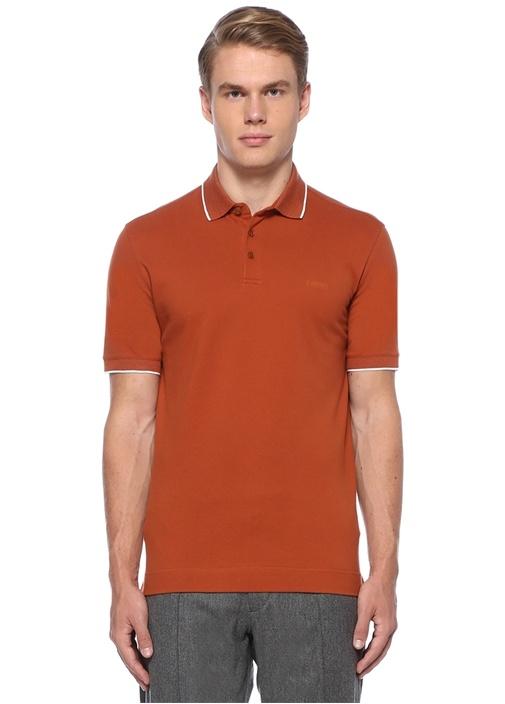 Turuncu Polo Yaka Kontrast Şeritli Dokulu T-shirt