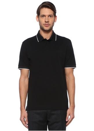 Z Zegna Erkek Siyah Polo Yaka Kontrast Şeritli DokuluT-shirt XXL IT male