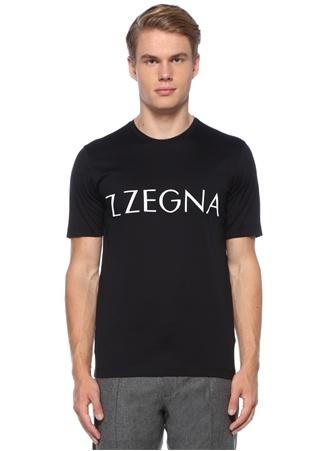 Siyah Kontrast Logo Baskılı Basic T-shirt