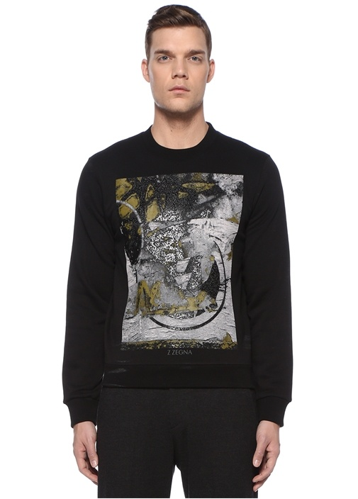 Siyah Karışık Baskılı Basic Sweatshirt