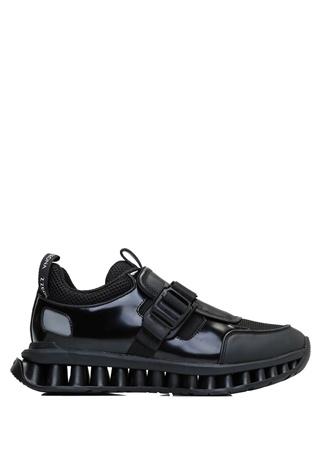 Z Zegna Erkek Siyah Taban Detaylı Deri Sneaker 6 UK male