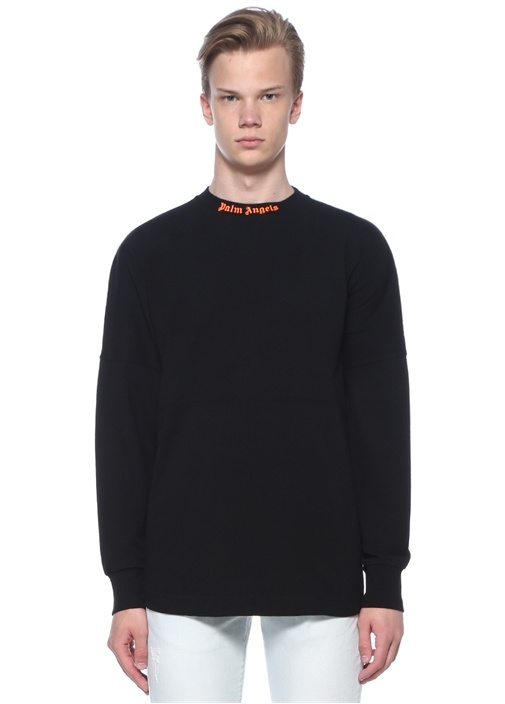 Siyah Neon Turuncu Dik Yaka Logolu Sweatshirt