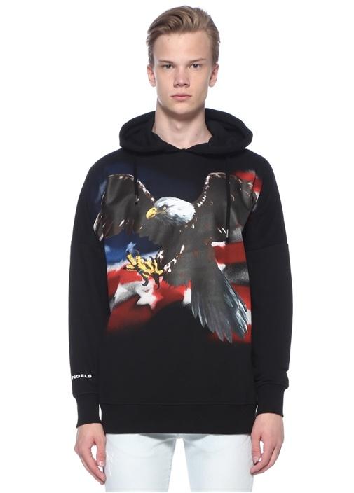Eagle Siyah Kapüşonlu Sweatshirt