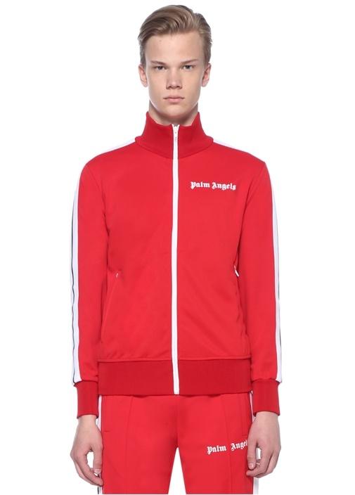 Kırmızı Dik Yaka Kolu Şeritli Sweatshirt
