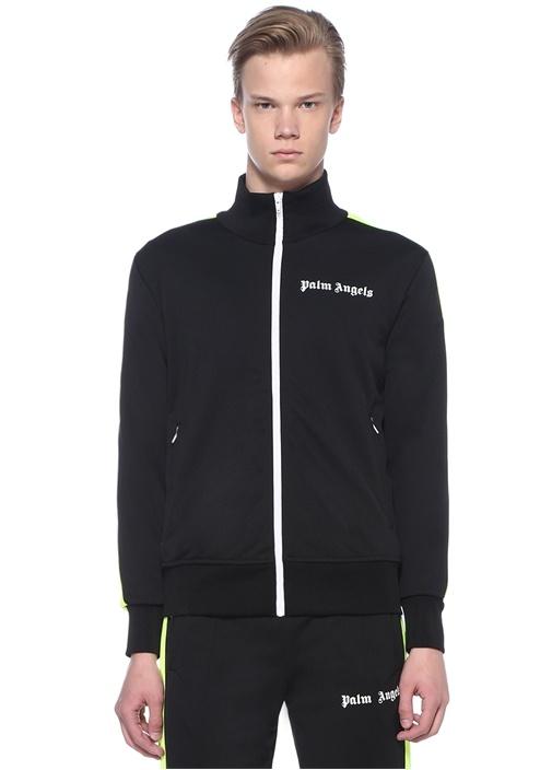 Fluo Siyah Kolu Neon Sarı Şeritli Sweatshirt