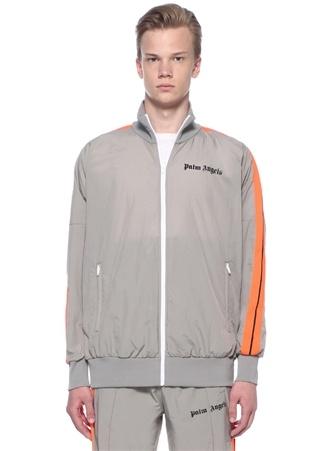 Loose Fit Gri Dik Yaka Neon Şeritli Sweatshirt