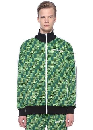 Loose Fit Yeşil Patchwork Desenli Sweatshirt