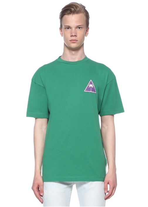 Palm Icon Yeşil Dik Yaka Basic T-shirt