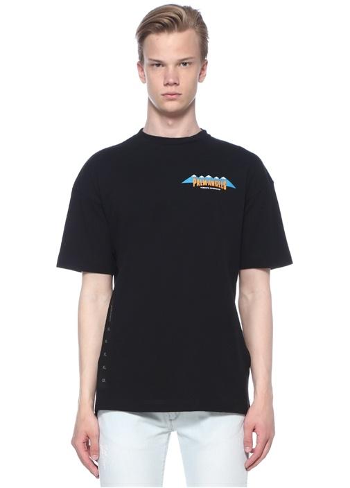 Hiking Siyah Bisiklet Yaka Dağ Baskılı T-shirt