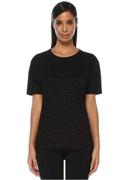 Siyah Taş İşlemeli T-shirt