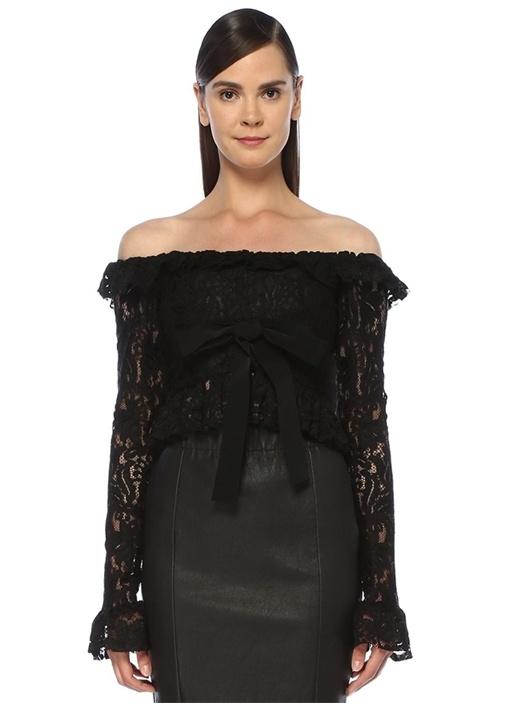 Siyah Kayık Yaka Fırfırlı Uzun Kol Dantel Bluz