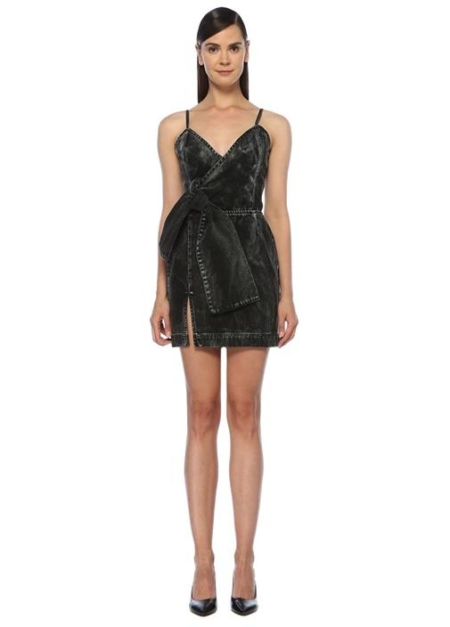 Siyah Batik Desenli Mini Denim Anvelop Elbise