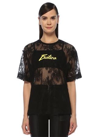 Siyah Önü Yazı Baskılı Transparan Dantel T-shirt
