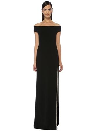 Stella McCartney Kadın Siyah Omzu Açık Yırtmaçlı Maksi Krep Abiye Elbise 42 IT female