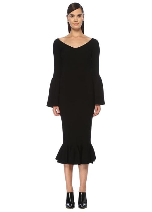 Siyah V Yaka Peplum Detaylı Midi Triko Elbise
