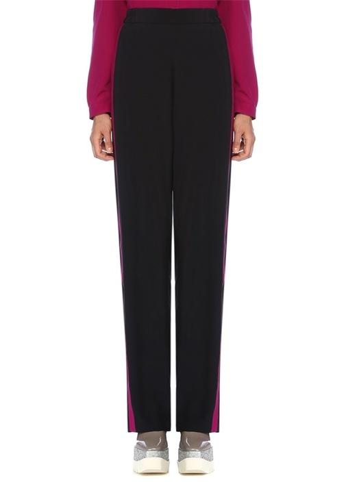 Cicely Lacivert Fuşya Şeritli Bol İpek Pantolon