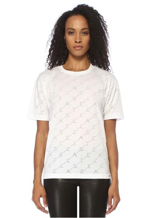 Monogram Beyaz Delikli T-shirt