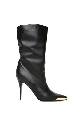 Siyah Plaka Detaylı Kadın Çizme