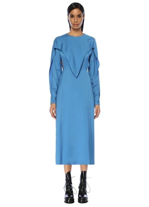 Mavi Kesim Detaylı Asimetrik Midi Krep Elbise
