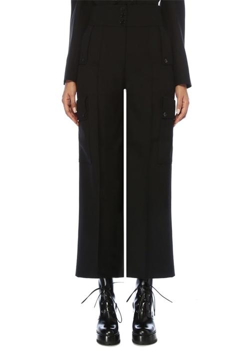 Siyah Yüksek Bel Cepli Bol Paça Yün Pantolon