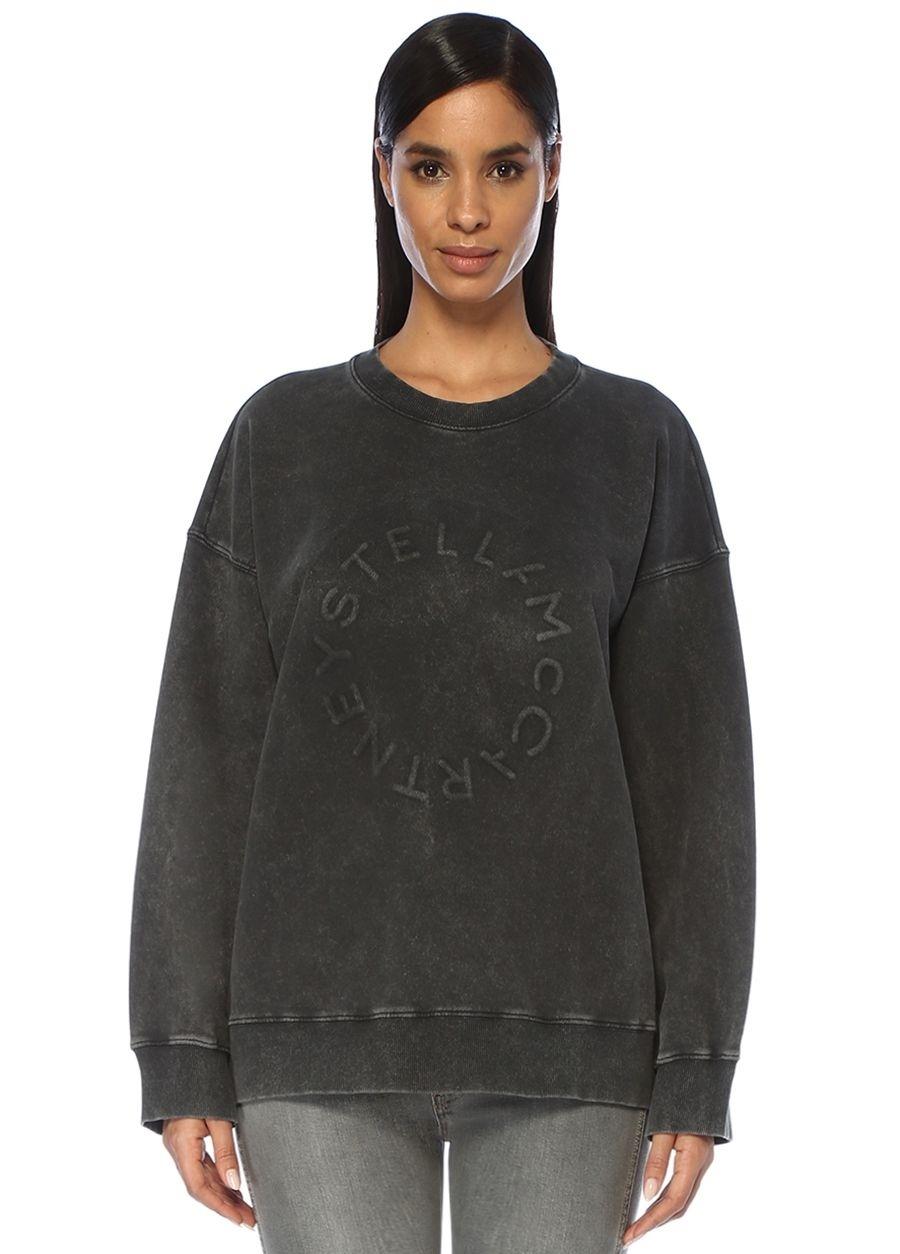 Stella McCartney Oversize Gri Logolu Sweatshirt