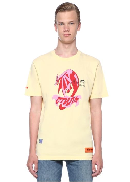 Sarı Bisiklet Yaka Baskılı Organik Pamuklu T-shirt